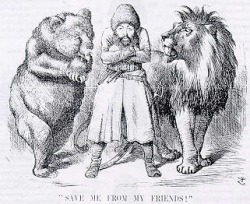 Political cartoon depicting the Afghan Emir Sher Ali with his 'friends' the Russian Bear & British Lion (1878). Save me from my friends.